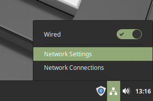 Opening the network settings on Linux Mint