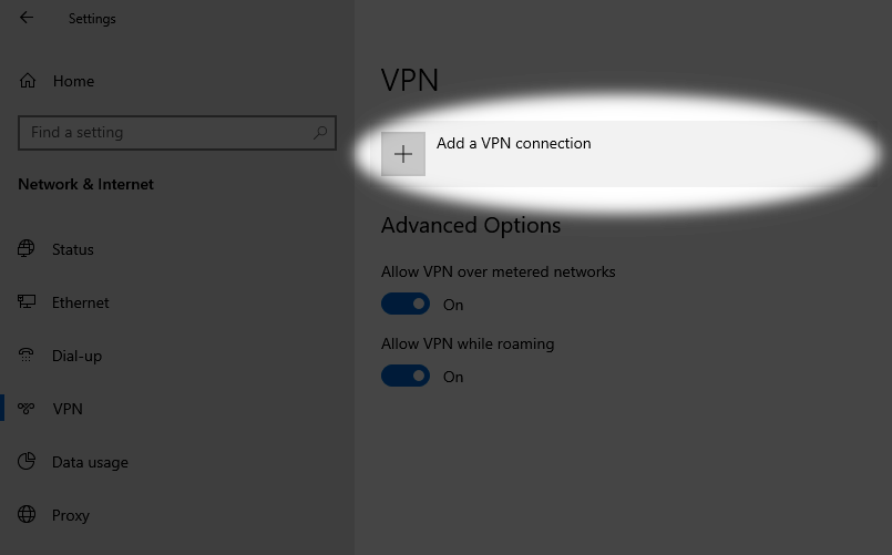 Add a new VPN connection on Windows