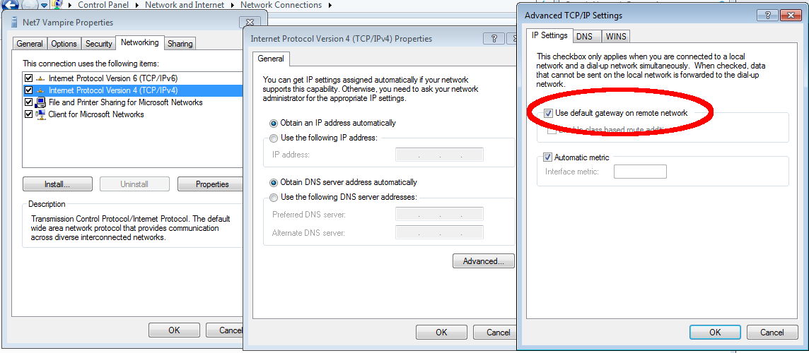 Where to find 'Change adapter options' in the Windows network settings