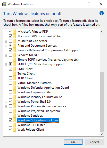 Enable WSL in the Windows Features list