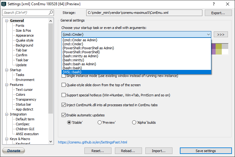Choosing the WSL task from the Cmder settings