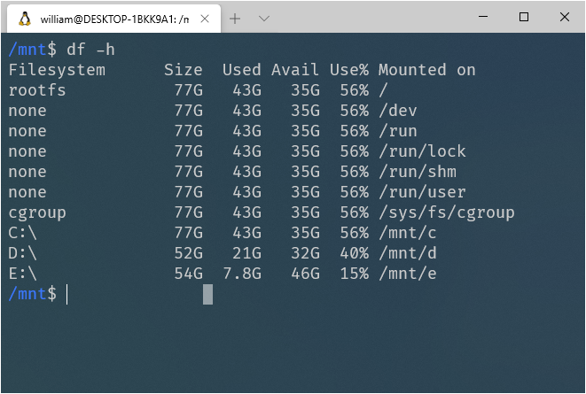 Shows the output of the df Linux command on WSL